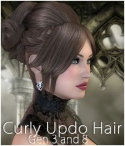 Curly Updo Hair for Genesis 3 and 8 females