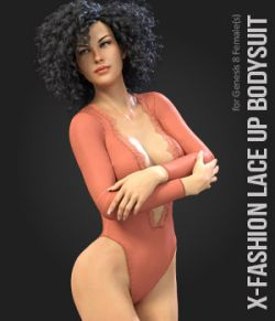 X-Fashion Lace Up Bodysuit for Genesis 8 Female
