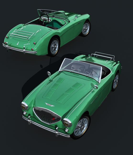 AUSTIN HEALEY 100 -OBJ, FBX- EXTENDED LICENSE