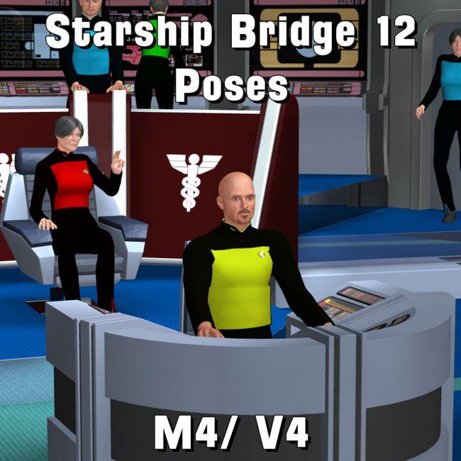 Starship Bridge 12: - Poses for M4  V4 and Poser
