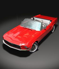 DROP TOP FORD MUSTANG 1967 OBJ FBX extended license