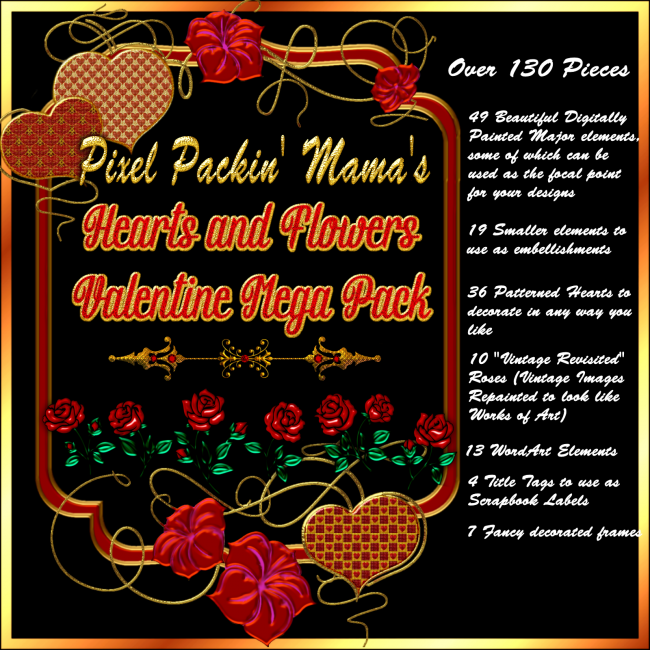 Pixel Packin Mamas Hearts and Flowers Valentine Mega Pack