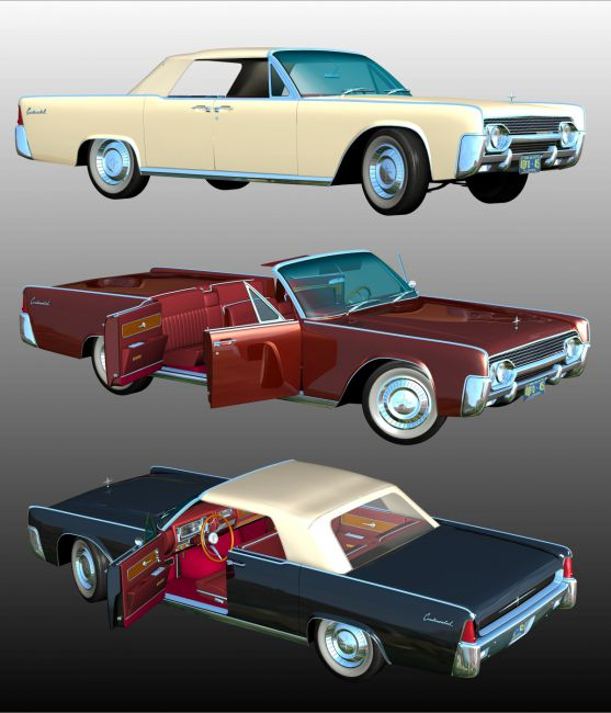 LINCOLN CONTINENTAL 1961  ( OBJ and FBX ) EXTENDED LICENSE