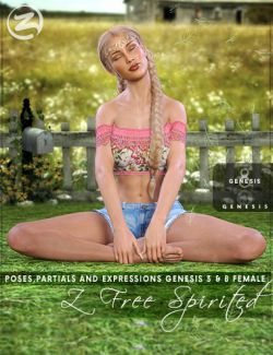 Z Free Spirited- Poses with Partials and Expressions for Genesis 3 & 8 Female