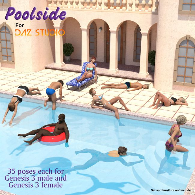 Poolside poses for Genesis 3 males and females