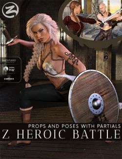 Z Heroic Battle- Props and Poses with Partials for Genesis 8