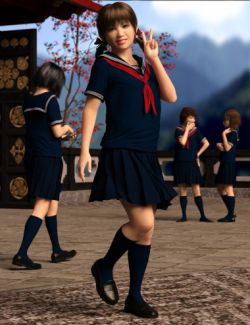 dForce Japanese Sailor Girl Outfit for Genesis 8 Female(s)