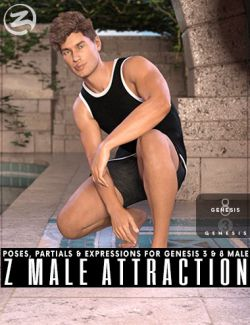 Z Male Attraction- Poses with Partials and Expressions for Genesis 3 & 8 Male