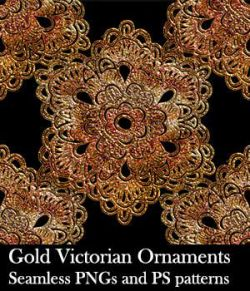 Gold Victorian Ornaments Seamless PNG and PS Patterns