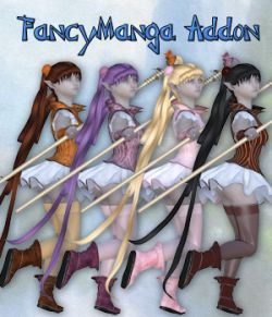 FancyManga Addon for Fancy Manga_Clothing set for V4 A4 and Poser.