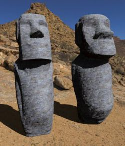 Easter Island Statues-3ds and obj- Extended License