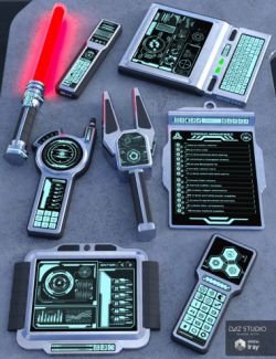 Sci Fi Hand Gadgets 1 for Genesis 2, 3 and 8 Female(s)