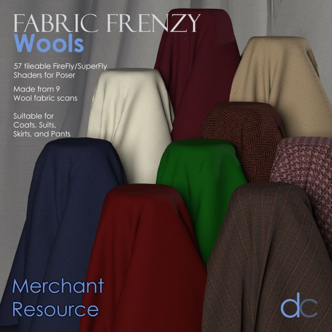Fabric Frenzy: Wools PBR Textures and Poser Shaders