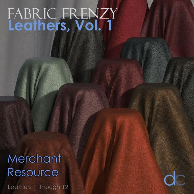 Fabric Frenzy: Leathers Vol 1 PBR Textures and Poser Shaders