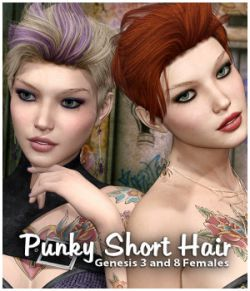 Punky Short Hair for Gen 3 and 8 DazStudio