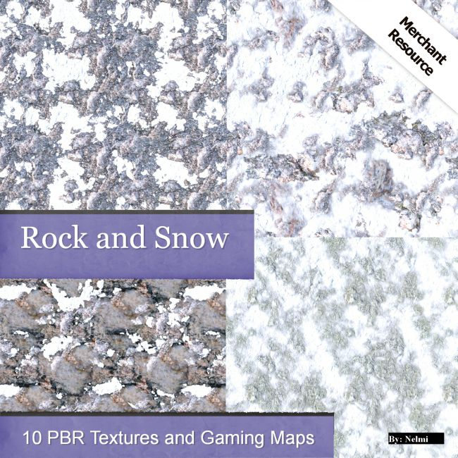 10 Rock and Snow PBR Textures with Maps - Merchant Resource