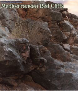3D Cliff Construction set: Mediterranean Red Rocks
