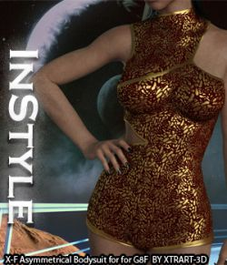 InStyle- X-Fashion Asymmetrical Bodysuit for Genesis 8 Females