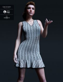 dForce Candyfloss Crochet Dress for Genesis 8 Female(s)