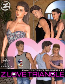 Z Love Triangle- Romantic Poses for Genesis 3 & 8
