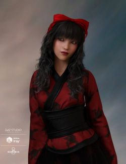 Ayako Hair & Bow for Genesis 8 Female(s)