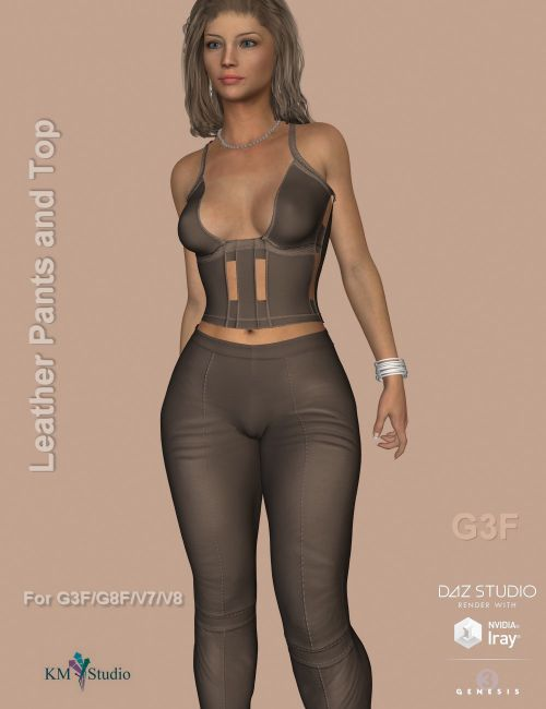 KM-Leather Pants and Top -  For G3F and G8F   Victoria 7 and 8