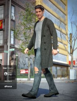 dForce Long Coat Outfit for Genesis 8 Male(s)