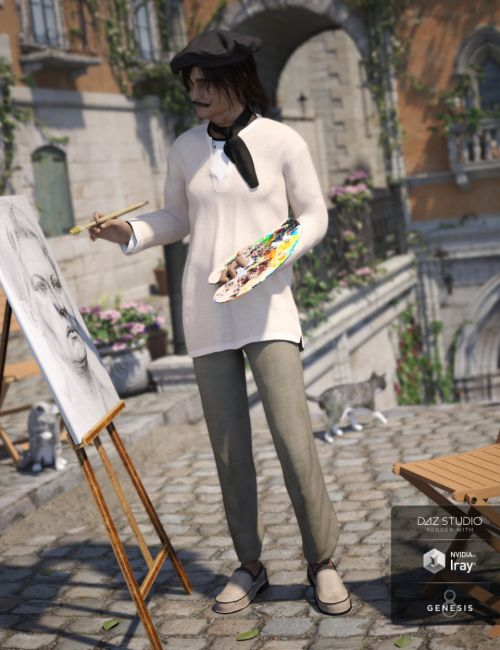 dForce French Painter Outfit for Genesis 8 Male(s)