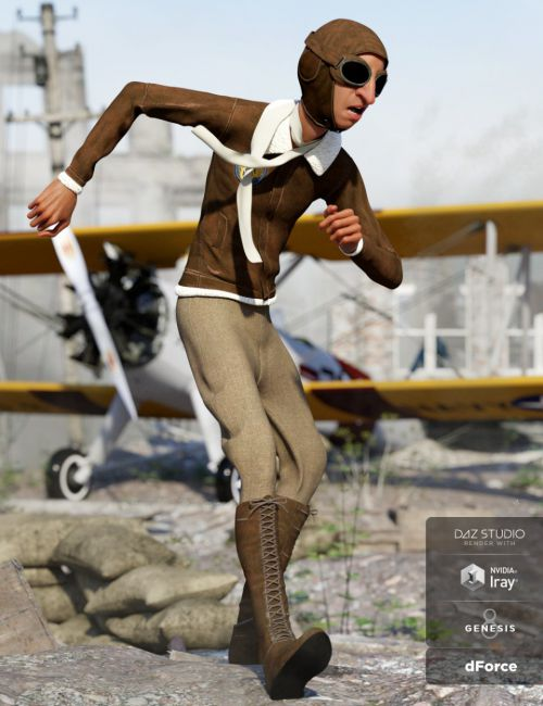 dForce Retro Aviator Outfit for Genesis 8 Male(s)