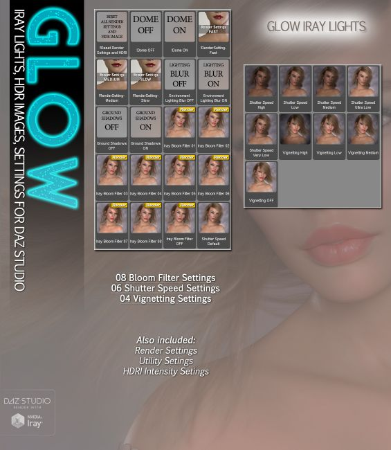 SVs GLOW Iray Lights | 3D Models for Poser and Daz Studio