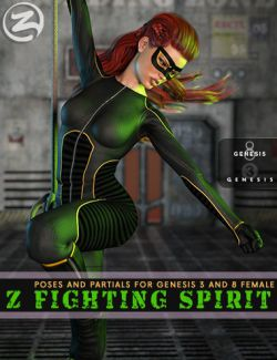 Z Fighting Spirit- Poses and Partials for Genesis 3 and 8 Female