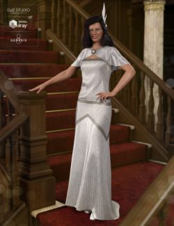 dForce 1920s Evening Gown Outfit for Genesis 8 Female(s)