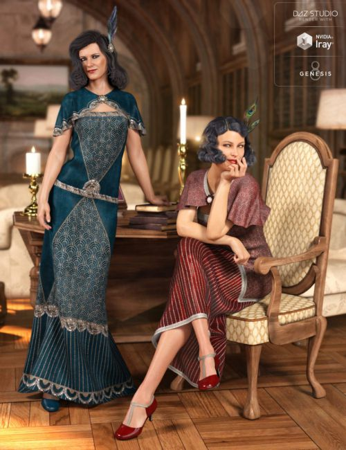 dForce 1920s Evening Gown Outfit Textures