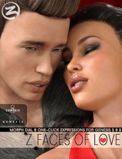Z Faces Of Love- One-Click and Dialable Expressions for Genesis 3 and 8