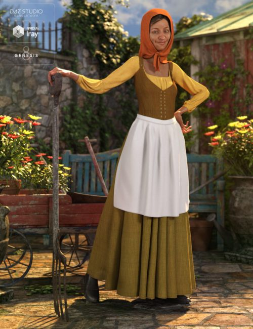 dForce Peasant Dress for Genesis 8 Female(s)