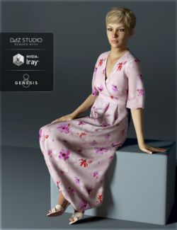 H&C dForce Floral Dress for Genesis 8 Female
