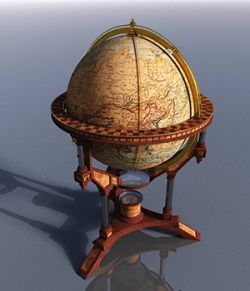 MS16 V9 Antique World Globe And Stand