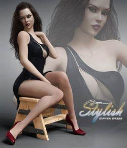 Stylish Zipper Dress for Genesis 8 Females