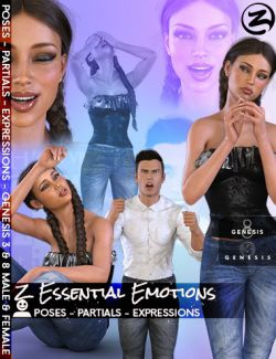 Z Essential Emotions - Poses, Partials and Expressions for Genesis 3 and 8