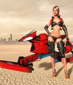 Zel Speeder Bike and Zel Helmet G3 and G8 DAZ Studio