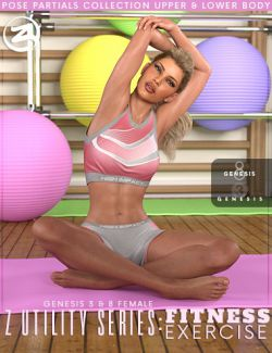 Z Utility Series: Fitness Exercise- Poses and Partials for Genesis 3 and 8 Female