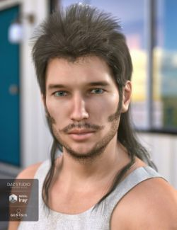 Bubba Mullet Hair for Genesis 3 and 8 Male(s)