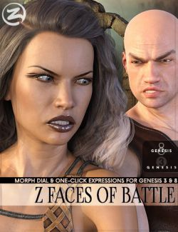 Z Faces Of Battle- Morph Dial and One-Click Expressions for Genesis 3 and 8