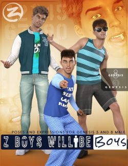 Z Boys Will Be Boys- Poses, Partials and Expressions for Genesis 3 and 8 Male