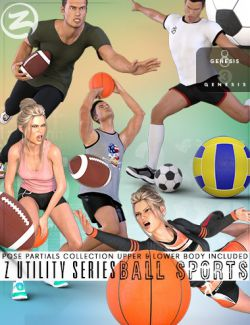 Z Utility Series: Ball Sports- Props, Poses and Partials for Genesis 3 and 8