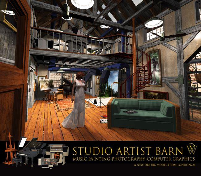 MS18 Studio Artist Barn for Obj fbx - Extended License