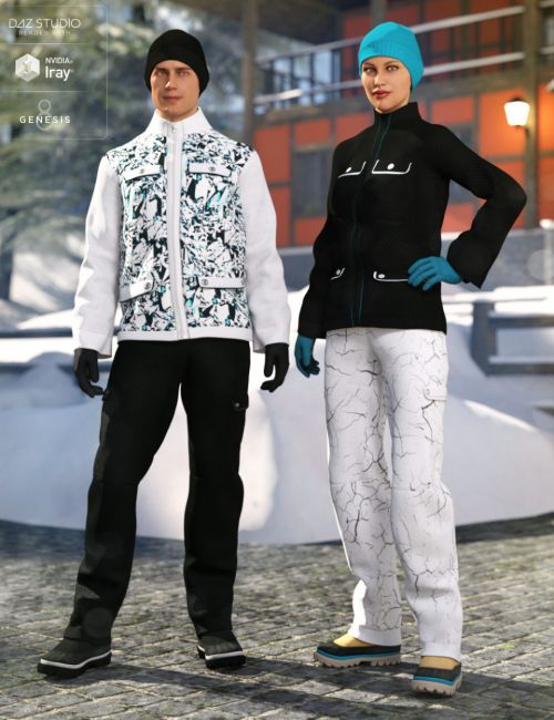 dForce Winter Snow Outfit for Genesis 8 Male(s) and Female(s)