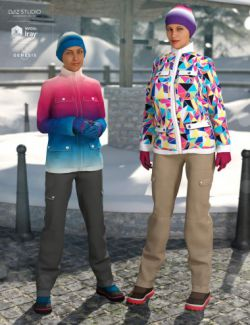 dForce Winter Snow Outfit Female Textures