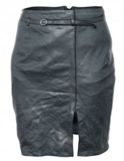 OBJ- Wrinkled Vintage Black Leather Skirt