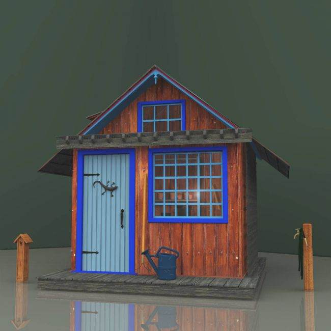 Blue-Trimmed Garden Shed For Vue